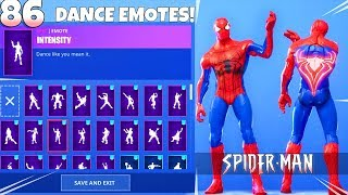 SPIDER-MAN SKIN! with DANCE EMOTES SHOWCASE! Fortnite Battle Royale
