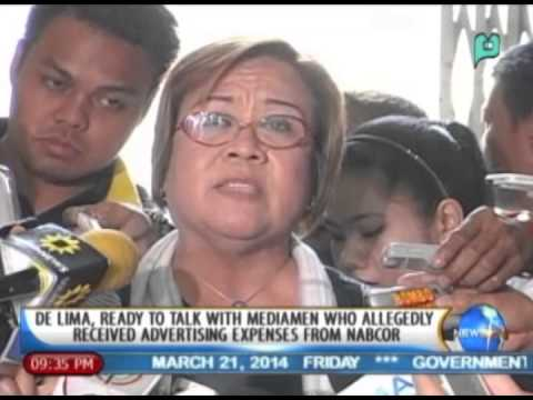 De Lima ready to talk w/ mediamen who allegedly received advertising expenses from NABCOR