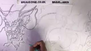 Drawing the graffiti dragon.