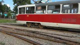 Раскантовка трамвайных вагонов на Салтовке. Tram unrolling.