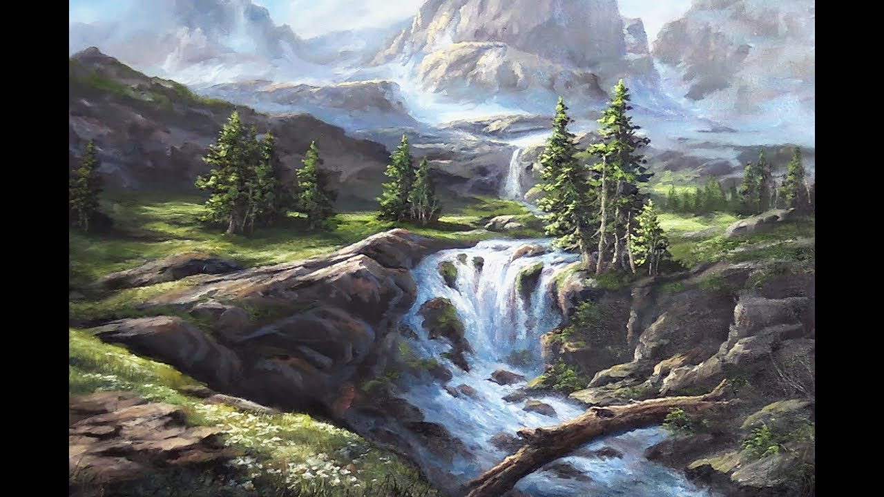 sunlit mountain waterfall oil
