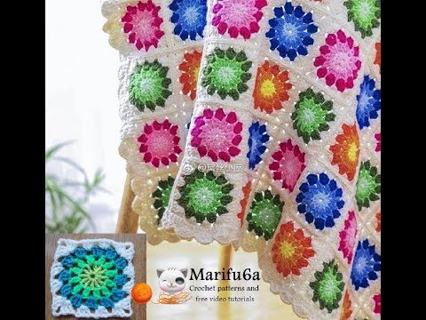 How to crochet multi colored afghan blanket free easy pattern ...