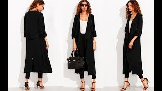 Black Trench Coat Women Rolled Up Sleeve Self Tie Casual Outerwear 2017