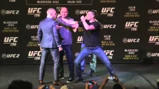 Conor McGregor Punch Nate Diaz ! UFC196 staredown !