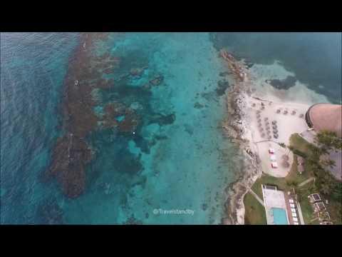 Cancun Mexico Hotel zone, Clear beach, Punta Nizuc, Mesoamerican Reef  sun rising areal view