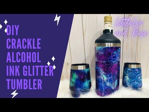 DIY Crackle Alcohol Ink Glitter Tumbler