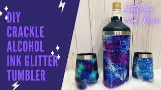 Crackle Alcohol Ink Glitter Tumbler
