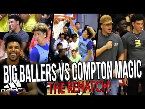 Thumbnail: Big Ballers DOUBLE OT REMATCH vs COMPTON MAGIC! LaMelo IMPRESSES Lonzo & Swaggy P!