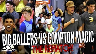 Big Ballers DOUBLE OT REMATCH vs COMPTON MAGIC! LaMelo IMPRESSES Lonzo & Swaggy P! thumbnail