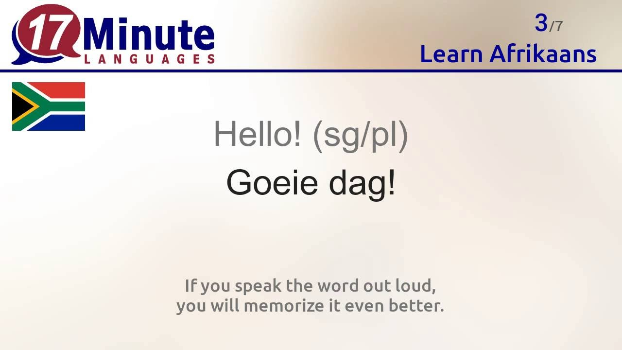 Learn the 30 most important words in Afrikaans!