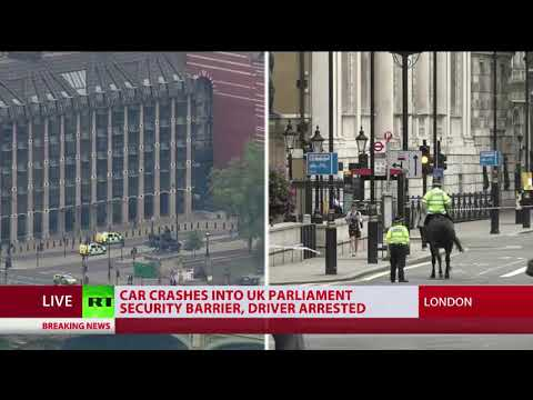Car crashes into UK Parliament security barrier, driver arrested