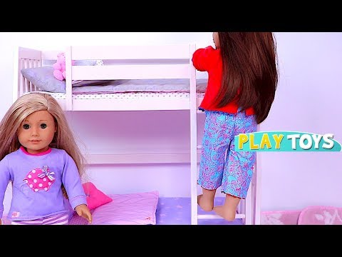 Baby Dollhouse Toys - Play baby doll bunk beds, doll closet dress up for American Girl Dolls