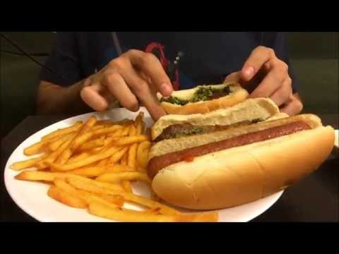 ASMR - Eating Sounds - Chorizo with Chimmichuri, Hot Dog and Fries | Whispered