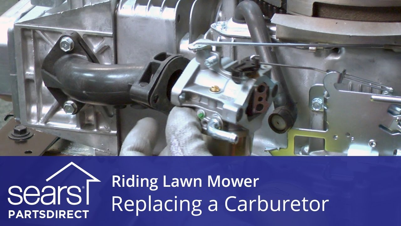 hight resolution of replacing a carburetor on a riding lawn mower