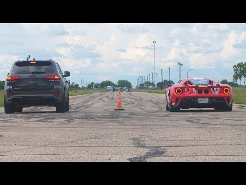2018 Ford GT vs 1000 HP Jeep Trackhawk Drag Race