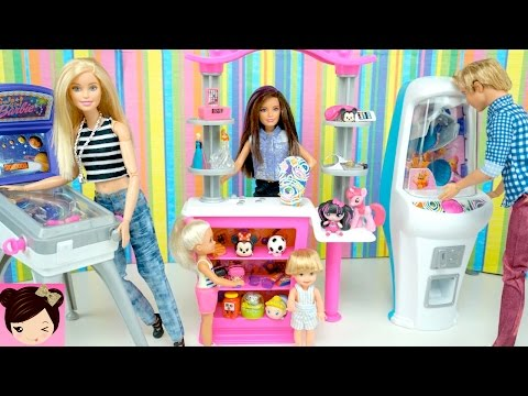Thumbnail: Dolls Playing at The Barbie Game Arcade Playset with Real Claw Machine & Prizes