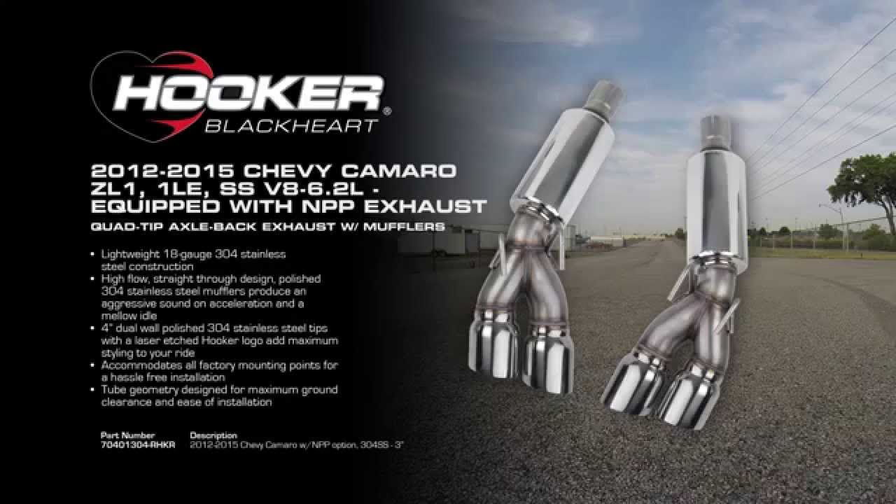 2012 - 2015 camaro zl1  1le npp quad-tip axle-back exhaust system with mufflers