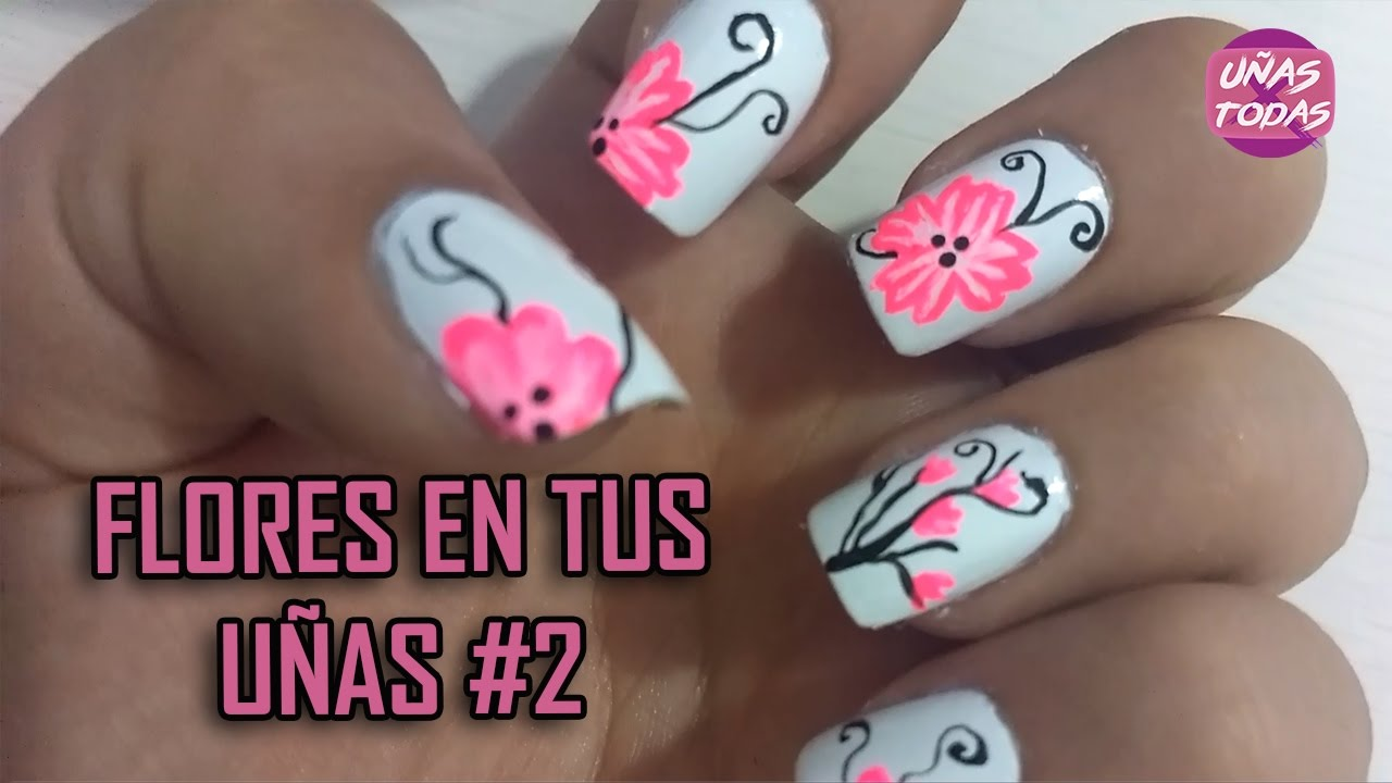 Unas Decoradas Con Flores Youtube