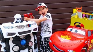 Artem collects Transformer Autobot Car and Fun Plays with Robot - Fun play with Autobot