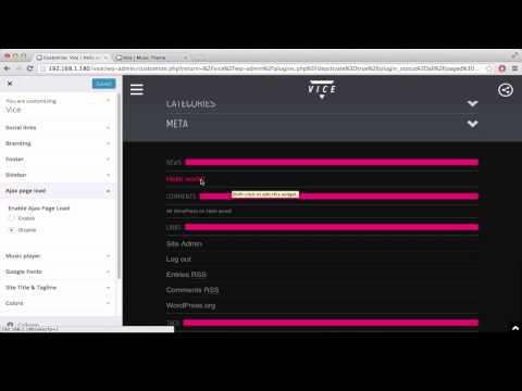 02 : Customizations menu and widgets | Vice Music Wordpress Theme