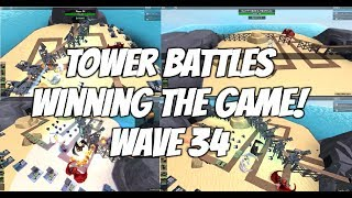 Roblox Tower Battles batendo o jogo! Como bater Wave 34 em batalhas de torre em Roblox!