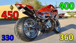 Extremely wide rear wheels of Superbikes