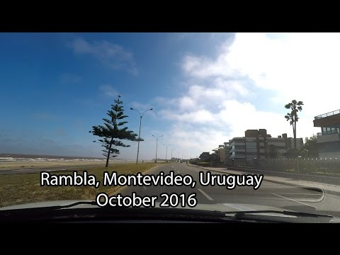 Drive along the Rambla (ocean) Montevideo Uruguay.