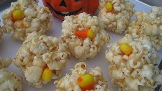 Halloween Day Zombie Candy Corn Popcorn Balls - How To Make Popcorn Balls Recipe