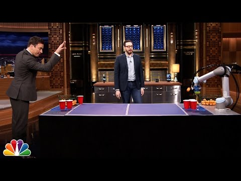 Jimmy Faces Off Against Joshua Topolsky's Beer Pong Robot