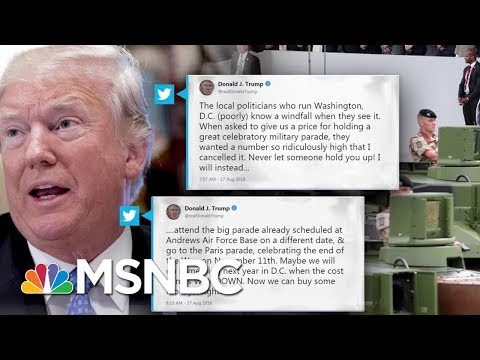 President Donald Trump Says Military Parade Is Canceled Due To High Costs | MSNBC