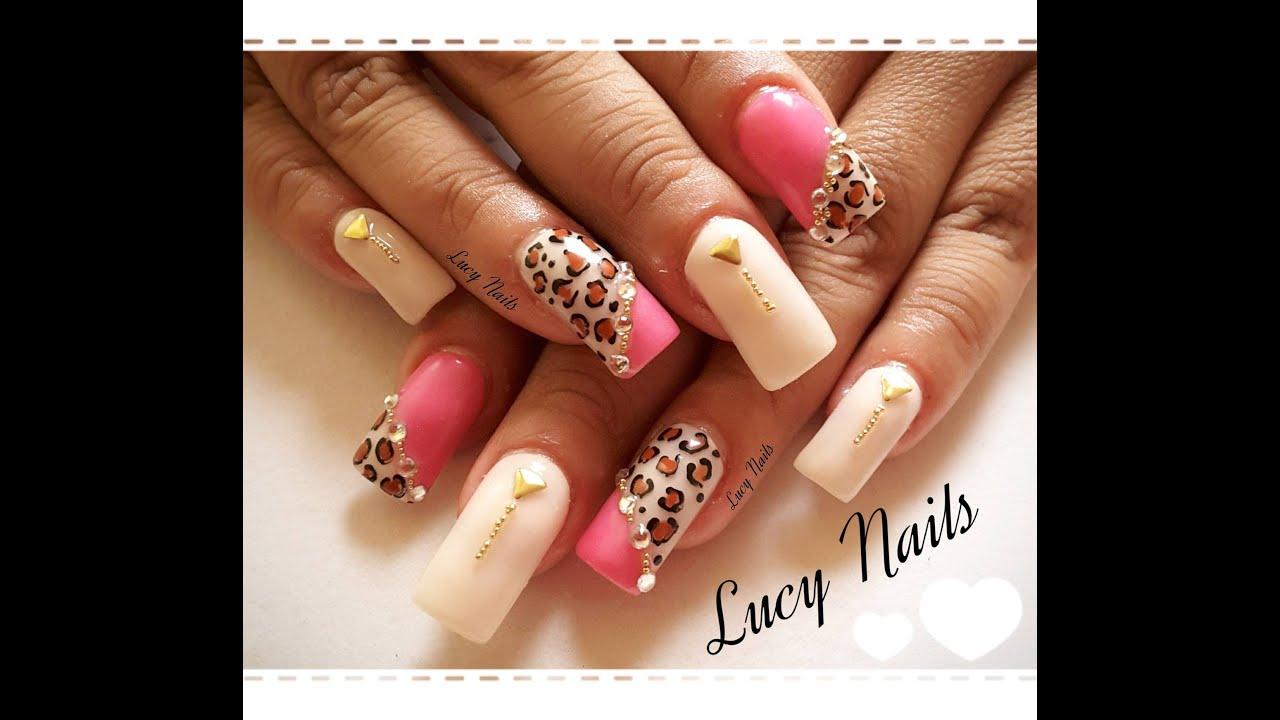 Uñas animal print rosa y nude (Inspirado en uñas estilo sinaloa ...