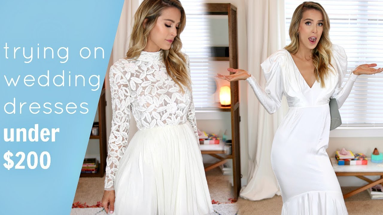 TRYING ON 5 AFFORDABLE WEDDING DRESSES