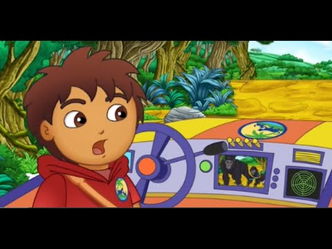 Go Diego Go and Dora the Explorer Rescue a Baby Gorilla in a Video Game
