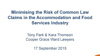 Understanding common law claims – an accommodation and food services perspective