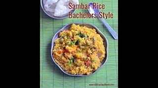 Easy Sambar Sadam In Pressure Cooker - Bachelors Style Sambar Rice Recipe
