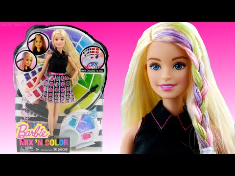 Barbie Mix N Color Doll How To Color Barbie Hair YouTube - Barbie hair style drawing