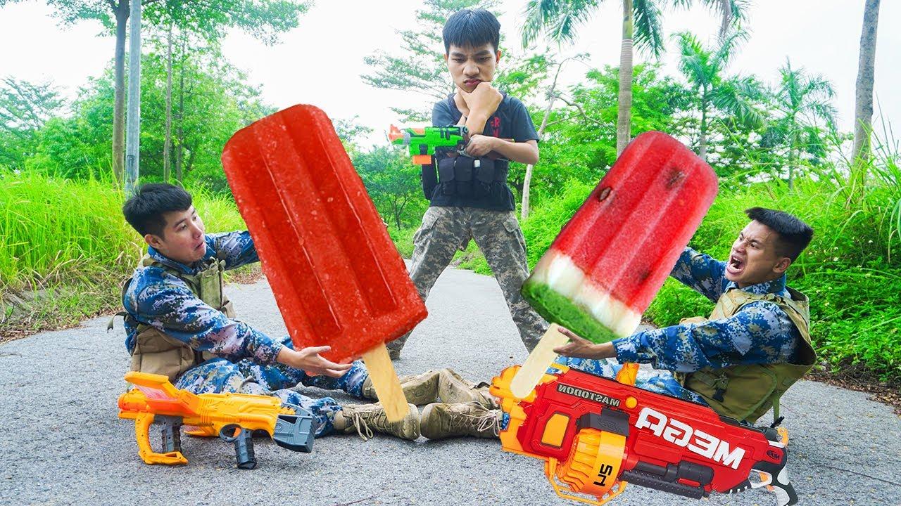 Battle Nerf War: Ice Creamer & Blue Police Nerf Guns Robbers Group LEMON ICE CREAM BATTLE