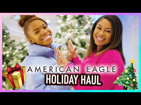 WINTER HAUL + Try On With MY SISTER! 🎄 American Eagle Holiday Collection