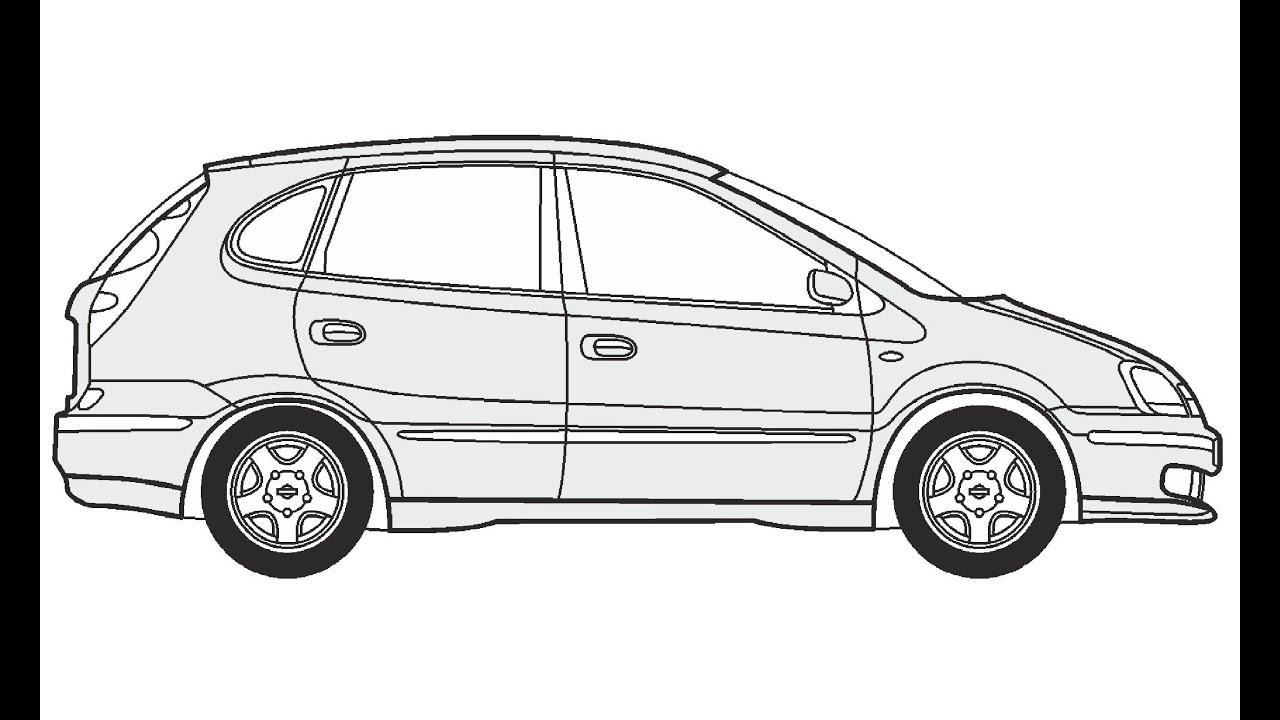 How to Draw a Nissan Almera Tino / Как нарисовать Nissan