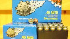45 Auto 230 grain FMJ Steel Case Silver Bear Ammo Made in Russia by Barnual at SGAmmo.com