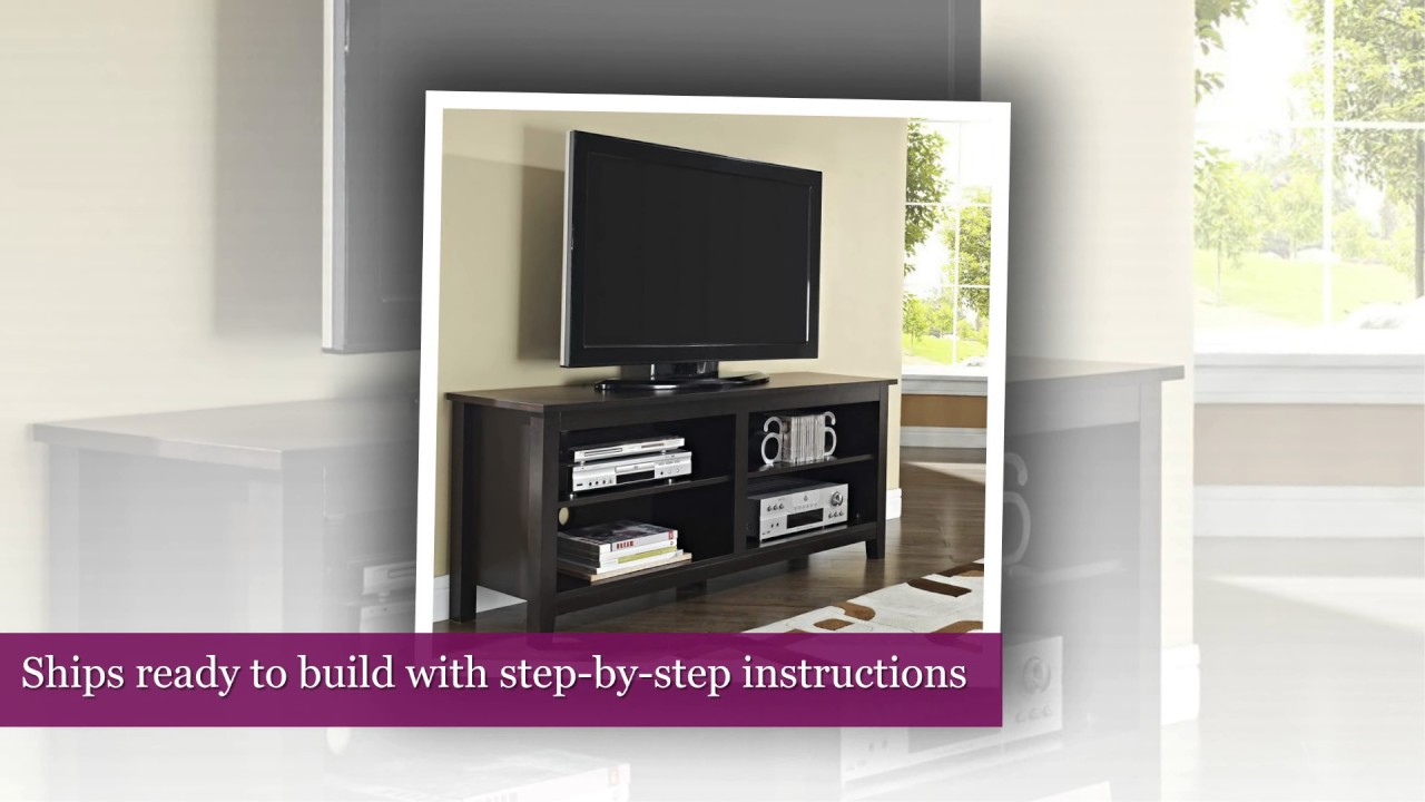 "WE Furniture 58"" Wood TV Stand Storage Console, Espresso ..."