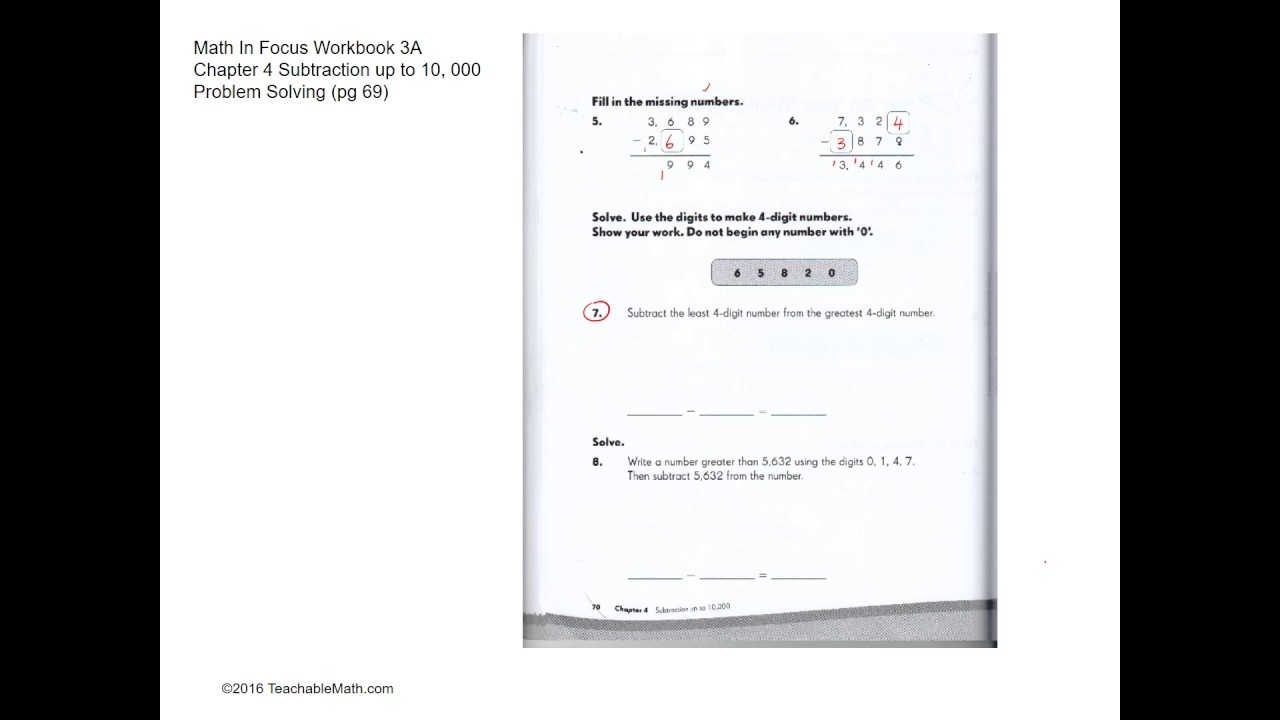 MIF Workbook 3A solutions chapter 4 Subtraction up to 10,000 Problem  Solving (pg 69-72)