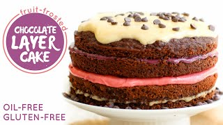Fruit Frosted Chocolate Layer Cake • Hclf Vegan + Gluten-free
