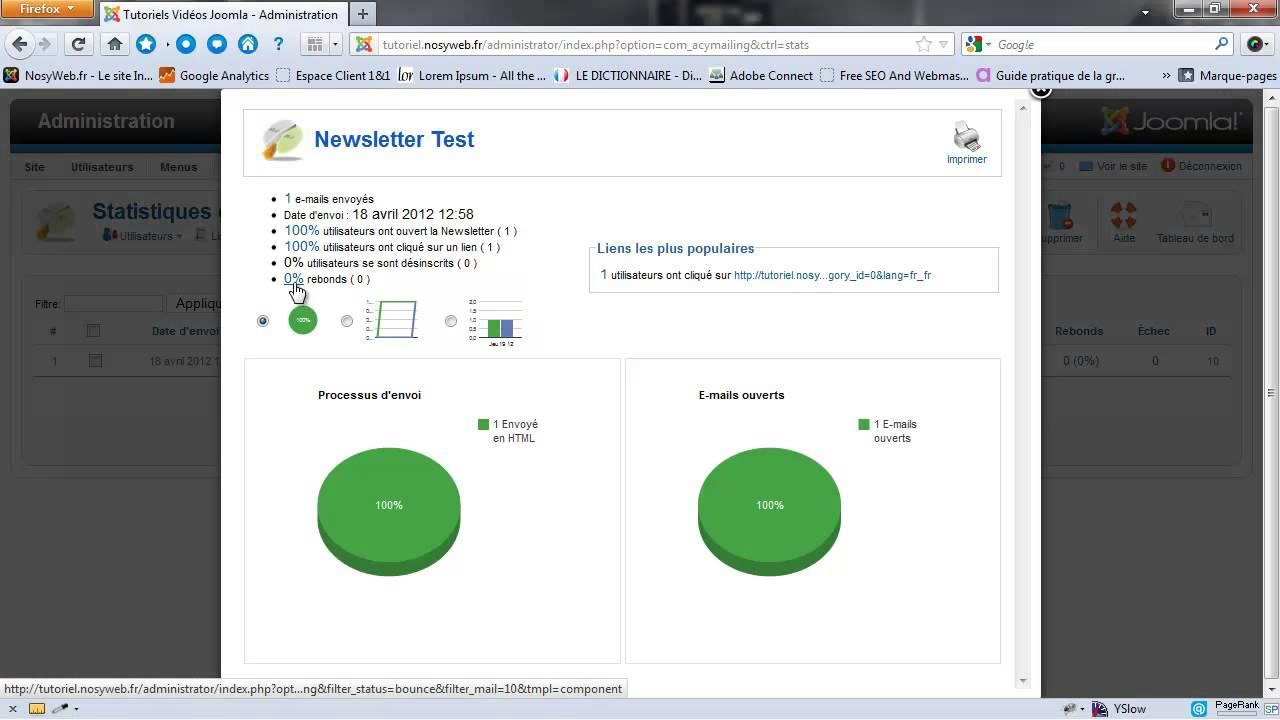 AcyMailing - Visualisation des statistiques