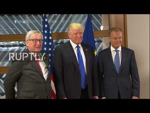 Belgium: Trump meets EU chiefs Tusk and Juncker in Brussels