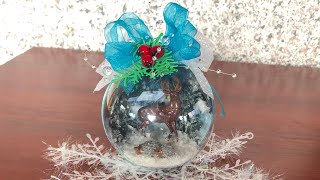 DIY: How to make blue Christmas ornament with deer inside for your Christmas tree TUTORIAL
