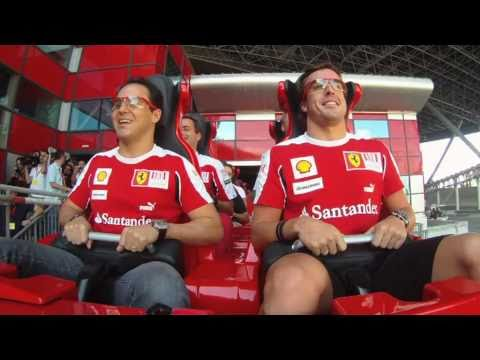 Ferrari's Alonso and Massa ride world's fastest rollercoaster at Ferrari World