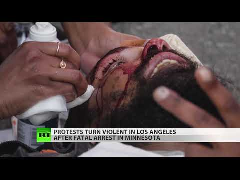 RT America: Mass protests in Los Angeles as angry crowds confront police