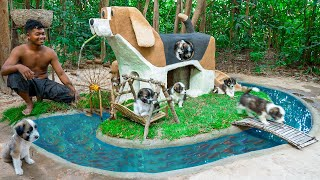 Build Dog House And Auto Swing For a Month Old Rescued Puppies