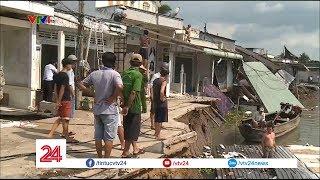 Sạt lở tại Cần Thơ khiến 5 căn nhà bị đổ sập xuống sông - Tin Tức VTV24